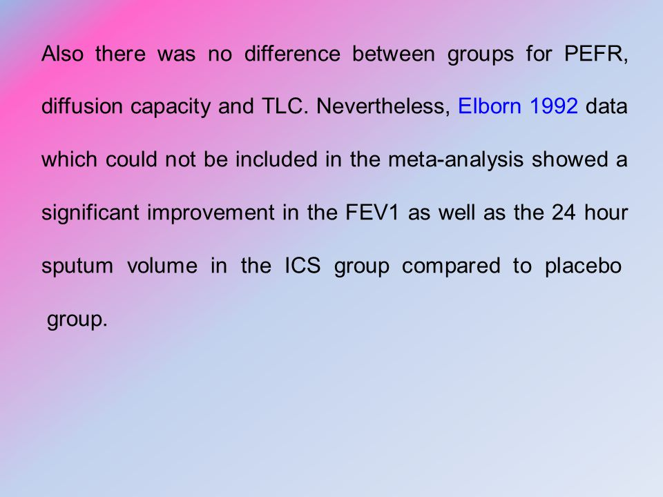 Also there was no difference between groups for PEFR, diffusion capacity and TLC.