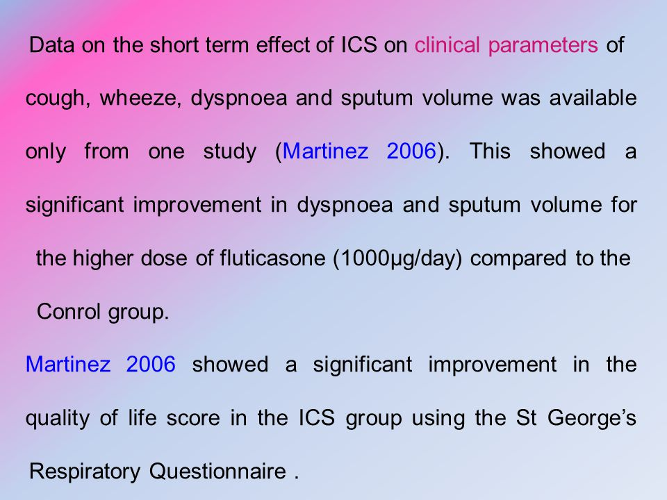 Data on the short term effect of ICS on clinical parameters of