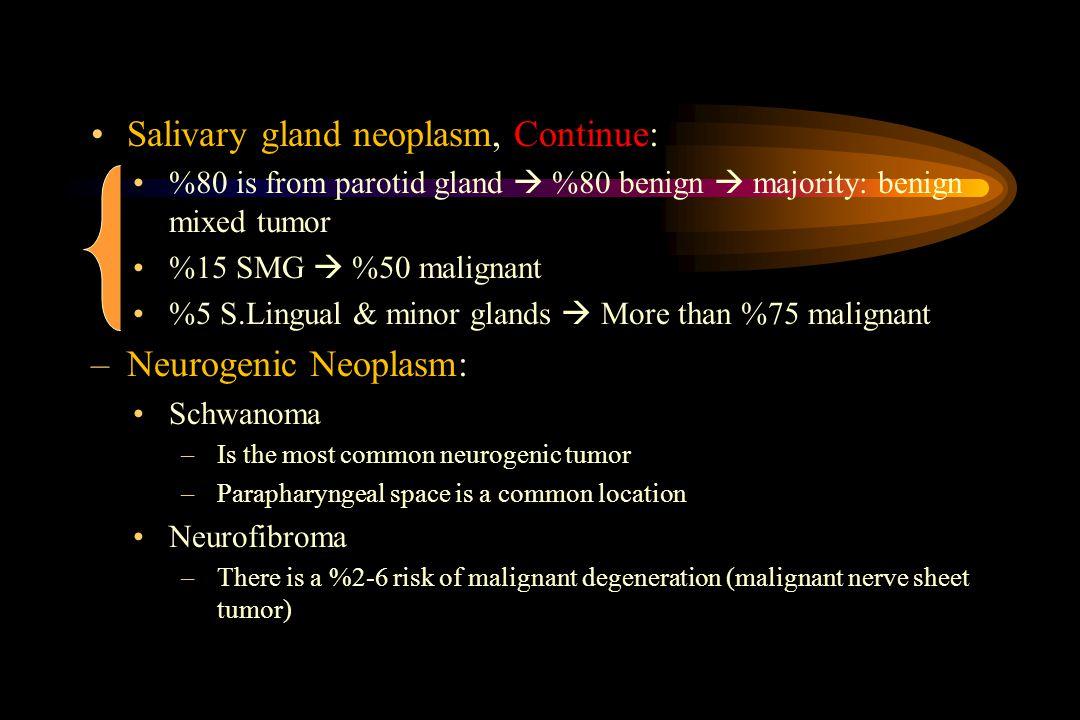 Salivary gland neoplasm, Continue: