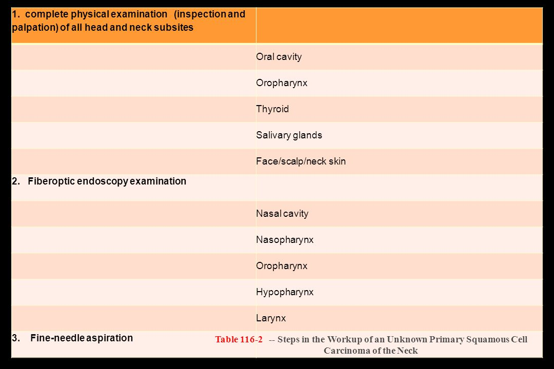 1. complete physical examination (inspection and palpation) of all head and neck subsites
