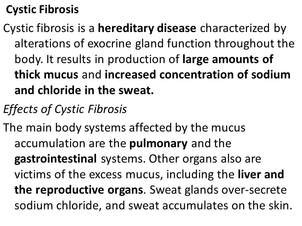 Effects of Cystic Fibrosis