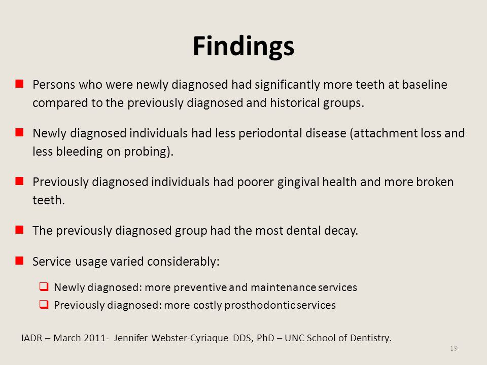 Findings Persons who were newly diagnosed had significantly more teeth at baseline compared to the previously diagnosed and historical groups.