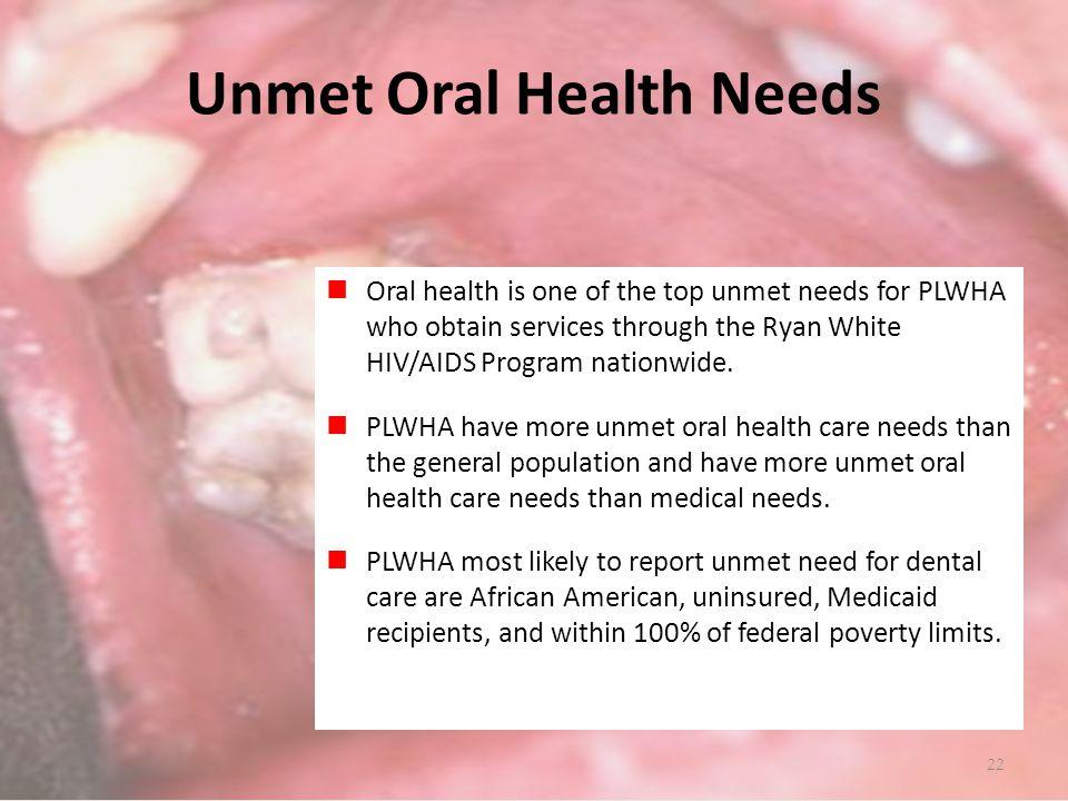 Unmet Oral Health Needs