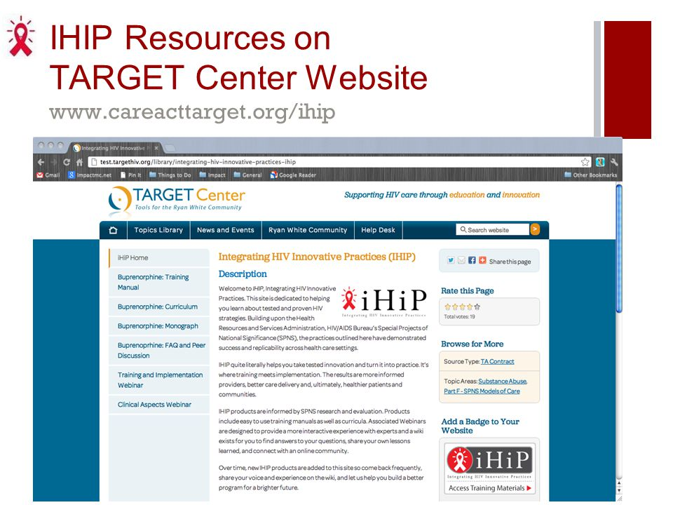IHIP Resources on TARGET Center Website www.careacttarget.org/ihip