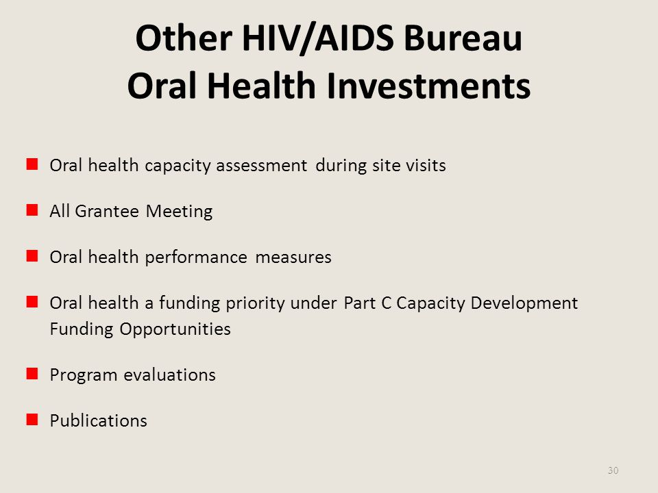 Other HIV/AIDS Bureau Oral Health Investments