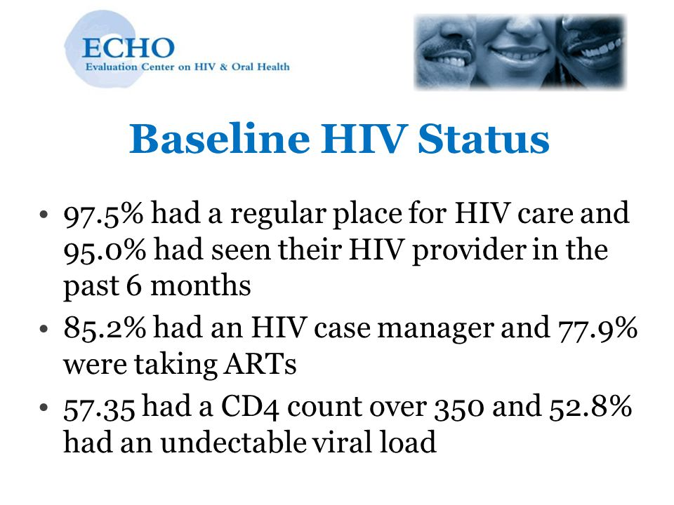 Baseline HIV Status 97.5% had a regular place for HIV care and 95.0% had seen their HIV provider in the past 6 months.