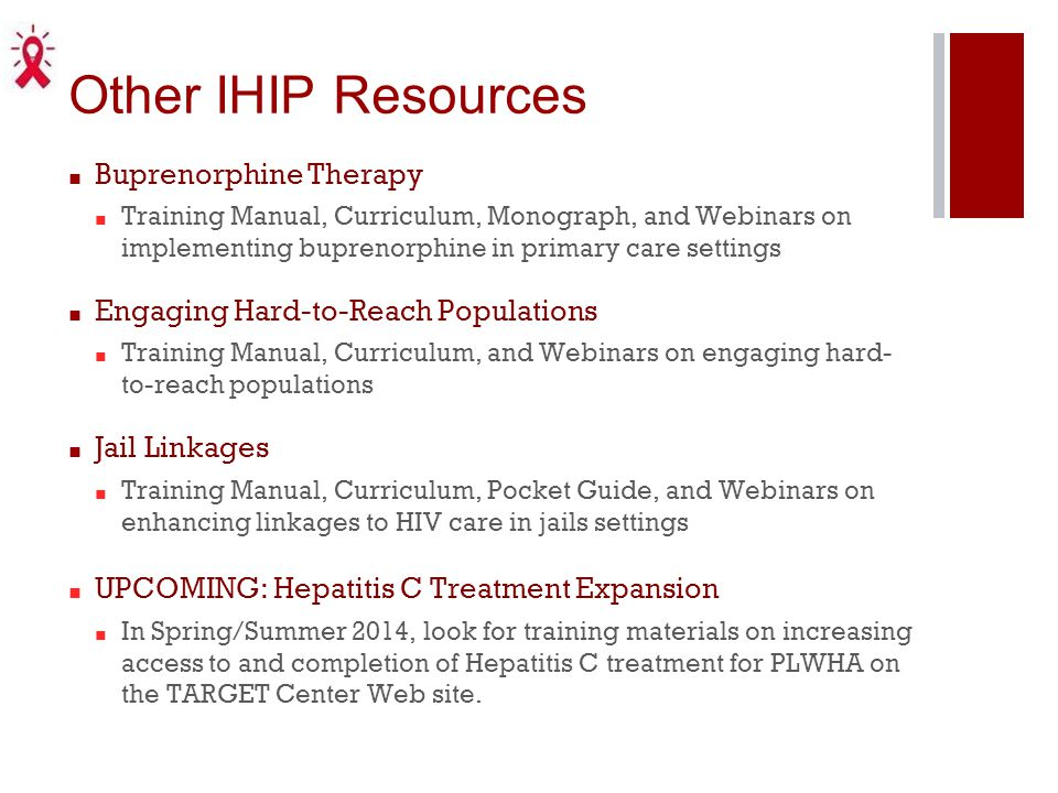 Other IHIP Resources Buprenorphine Therapy