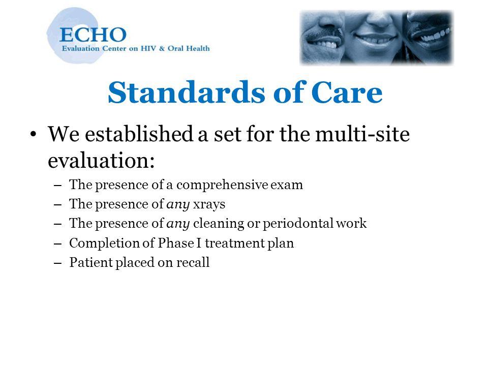 Standards of Care We established a set for the multi-site evaluation: