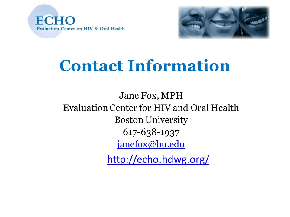 Evaluation Center for HIV and Oral Health