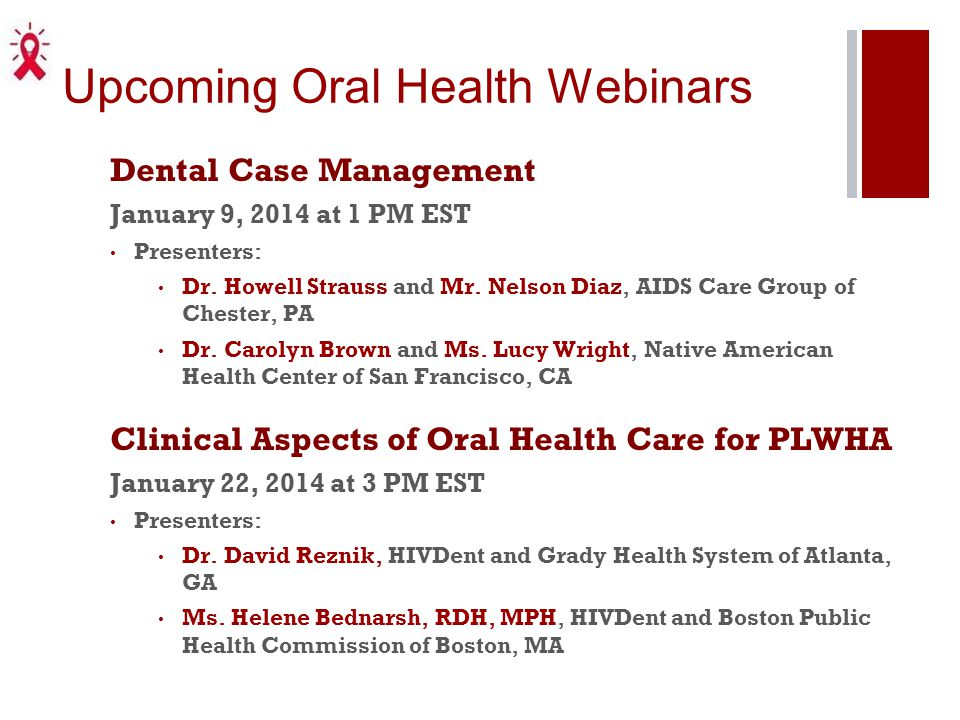 Upcoming Oral Health Webinars