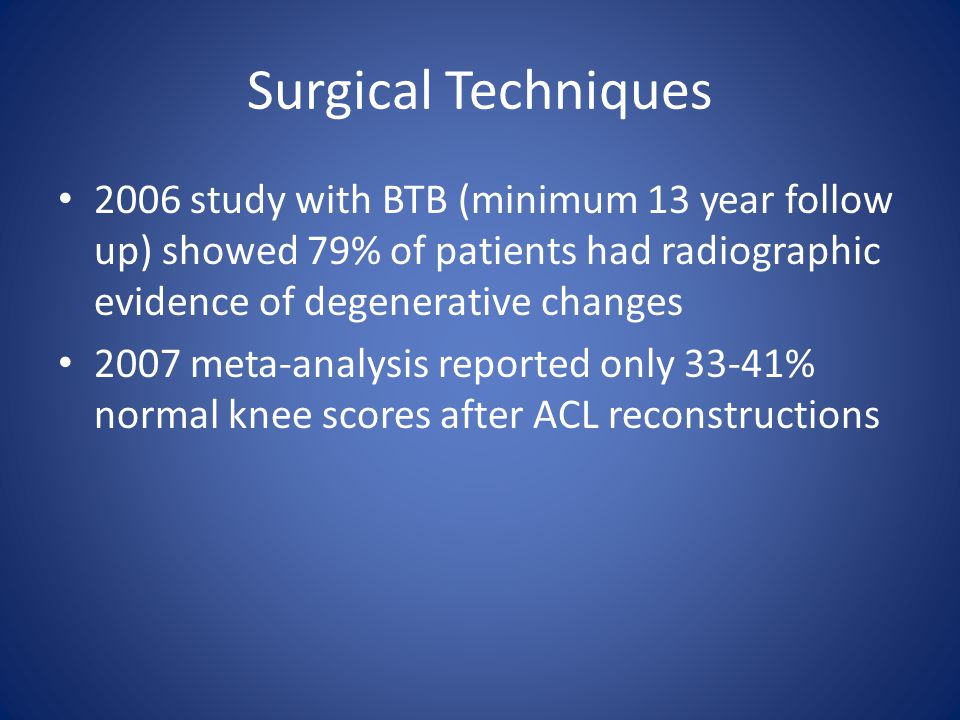 Surgical Techniques 2006 study with BTB (minimum 13 year follow up) showed 79% of patients had radiographic evidence of degenerative changes.