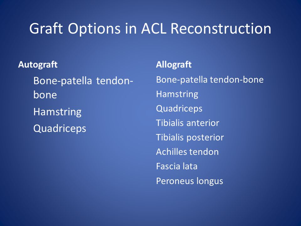 Graft Options in ACL Reconstruction