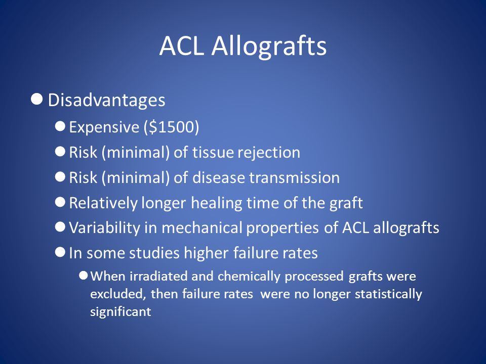 ACL Allografts Disadvantages Expensive ($1500)