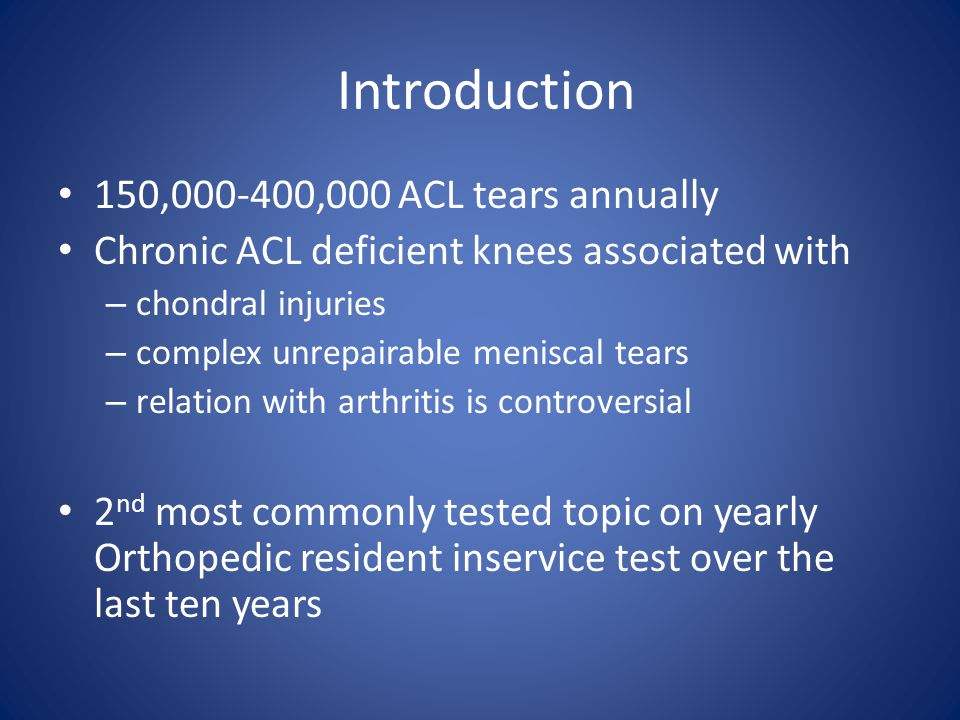Introduction 150,000-400,000 ACL tears annually