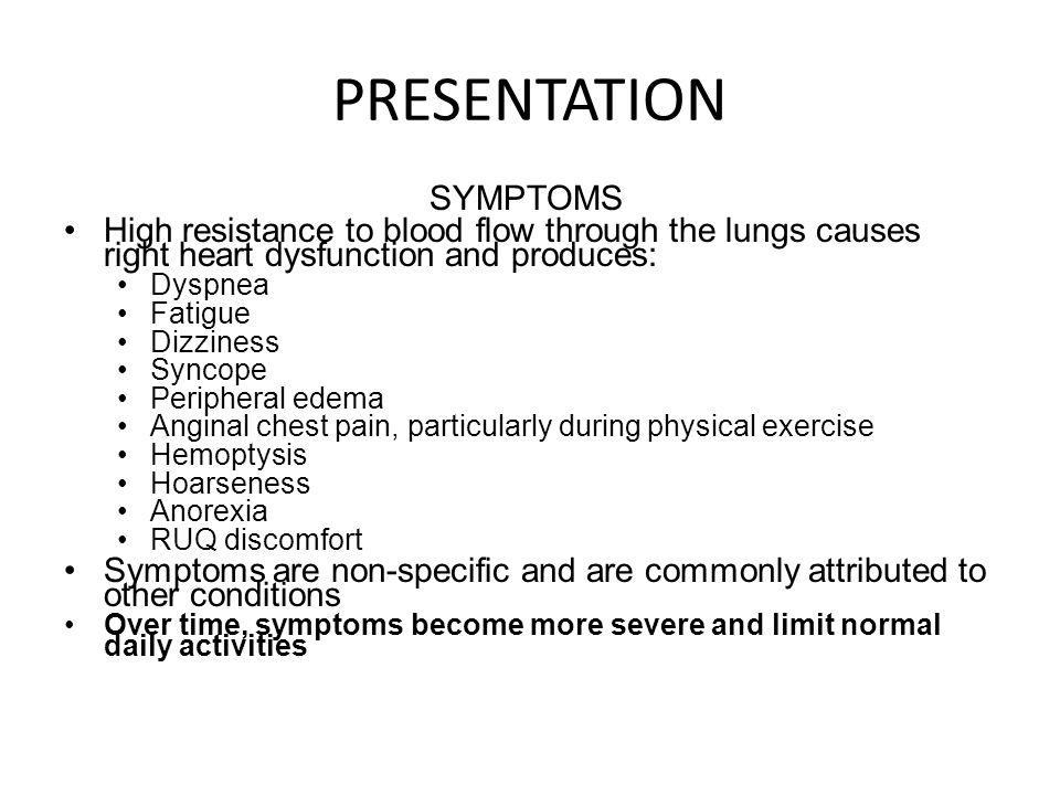 PRESENTATION SYMPTOMS