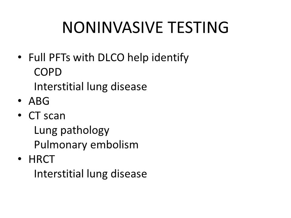 NONINVASIVE TESTING Full PFTs with DLCO help identify COPD