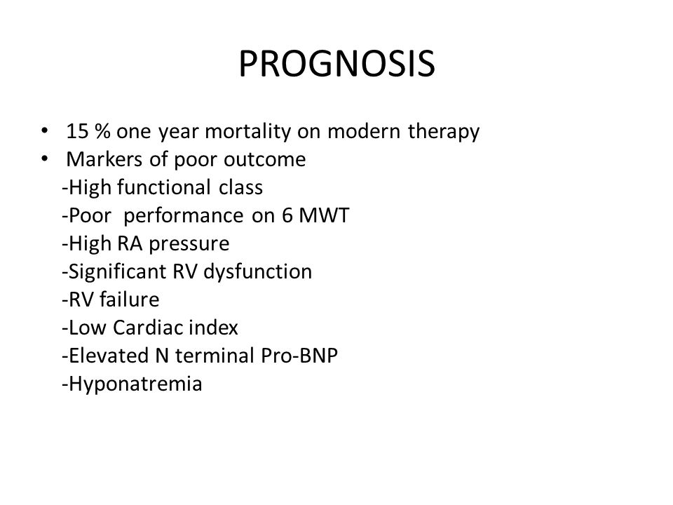 PROGNOSIS 15 % one year mortality on modern therapy