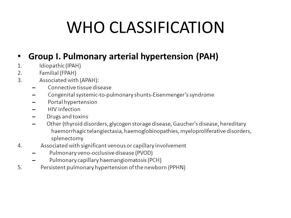 WHO CLASSIFICATION Group I. Pulmonary arterial hypertension (PAH)