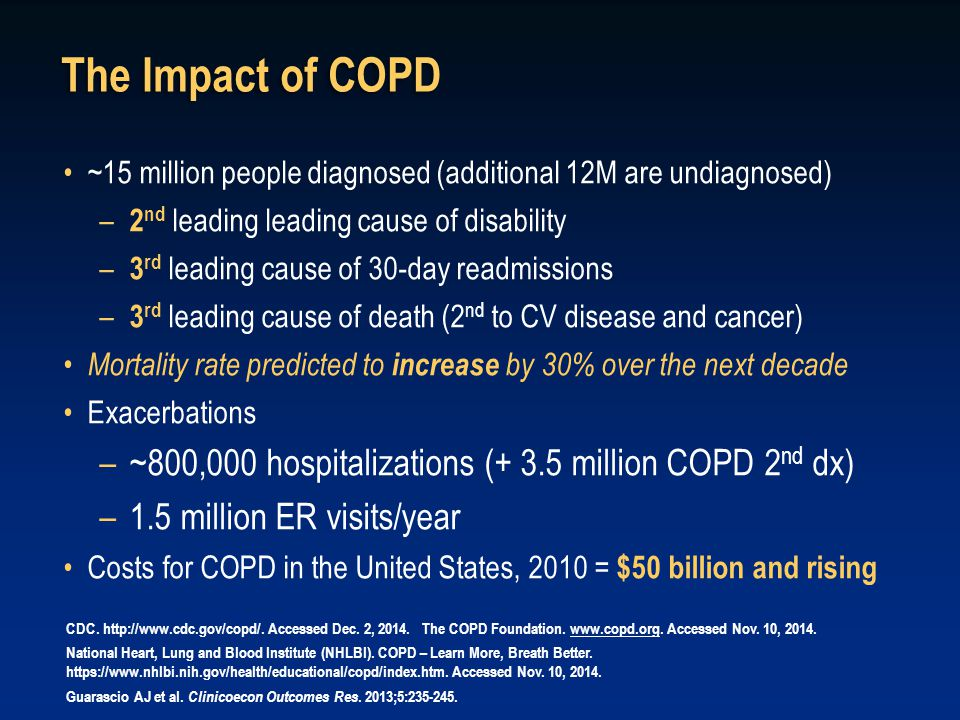 The Impact of COPD ~15 million people diagnosed (additional 12M are undiagnosed) 2nd leading leading cause of disability.