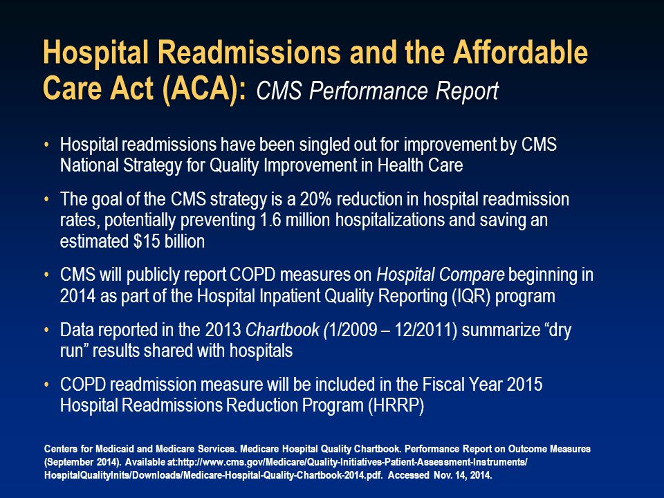 Hospital Readmissions and the Affordable Care Act (ACA): CMS Performance Report
