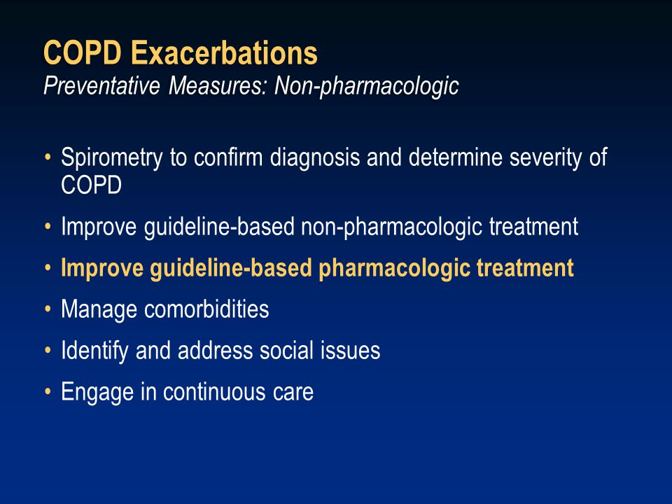 COPD Exacerbations Preventative Measures: Non-pharmacologic