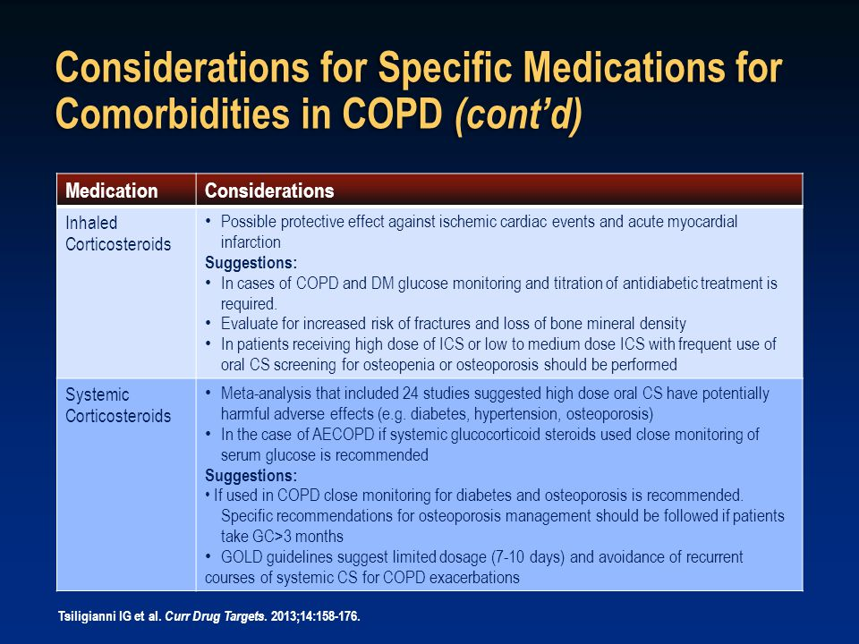 Considerations for Specific Medications for Comorbidities in COPD (cont'd)