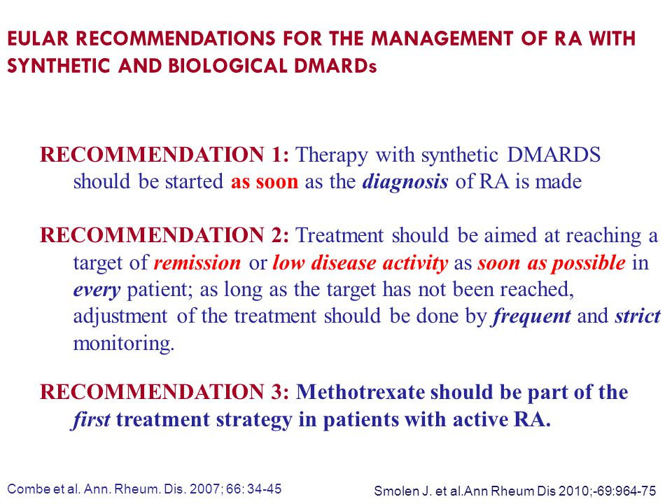 EULAR RECOMMENDATIONS FOR THE MANAGEMENT OF RA WITH SYNTHETIC AND BIOLOGICAL DMARDs