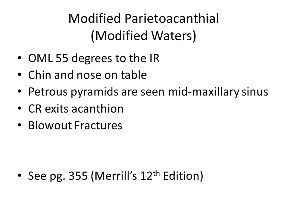 Modified Parietoacanthial (Modified Waters)