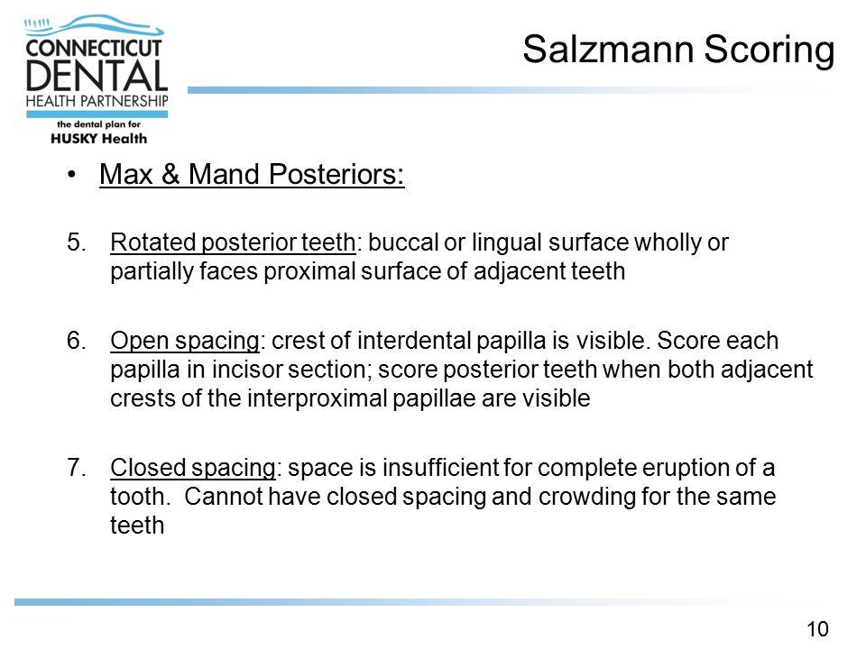 Salzmann Scoring Max & Mand Posteriors: