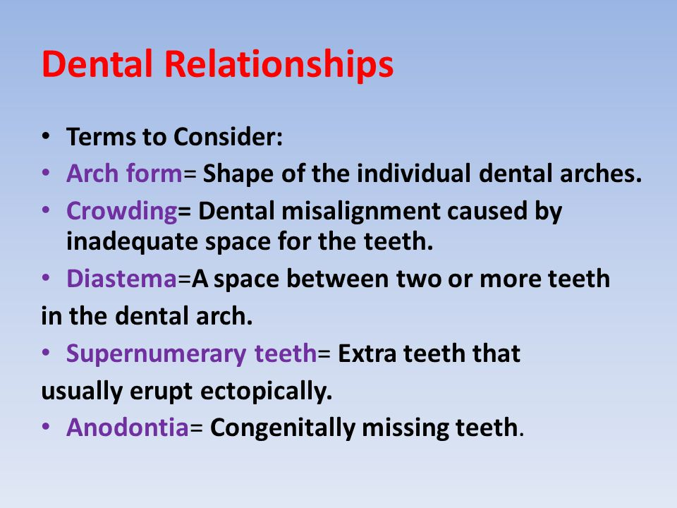 Dental Relationships Terms to Consider: