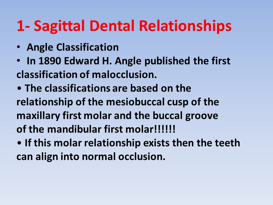1- Sagittal Dental Relationships