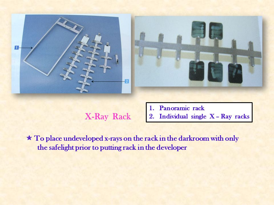 Panoramic rack Individual single X – Ray racks. X-Ray Rack.  To place undeveloped x-rays on the rack in the darkroom with only.
