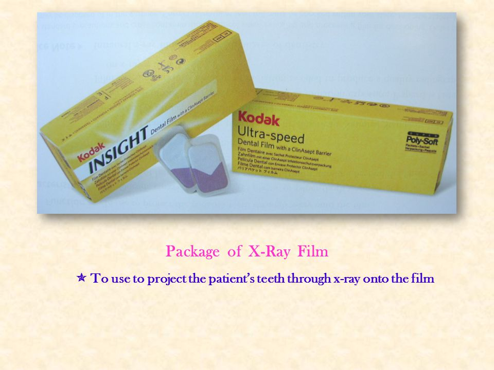 Package of X-Ray Film  To use to project the patient's teeth through x-ray onto the film