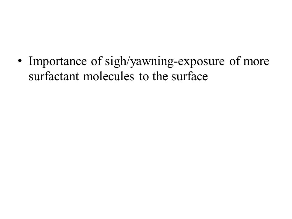 Importance of sigh/yawning-exposure of more surfactant molecules to the surface