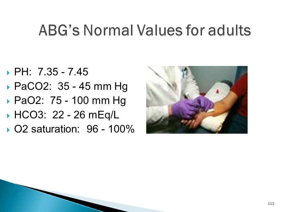 ABG's Normal Values for adults