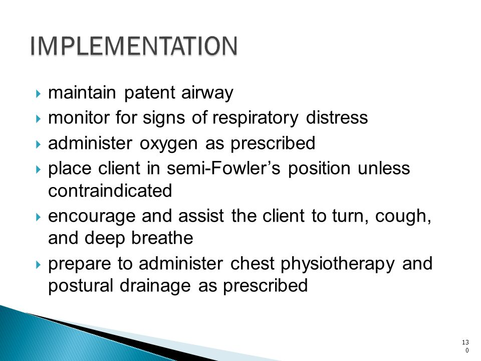 IMPLEMENTATION maintain patent airway