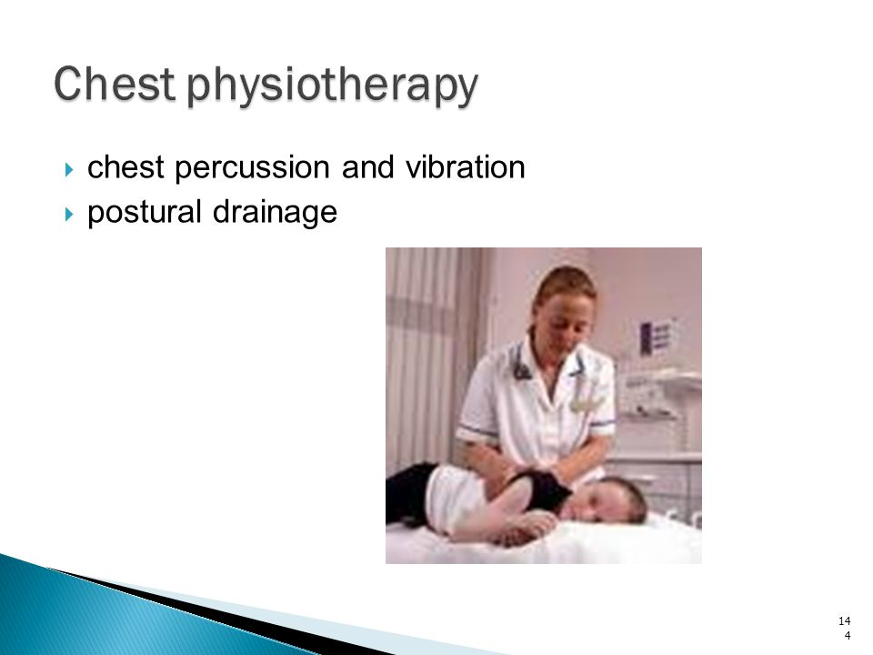 Chest physiotherapy chest percussion and vibration postural drainage