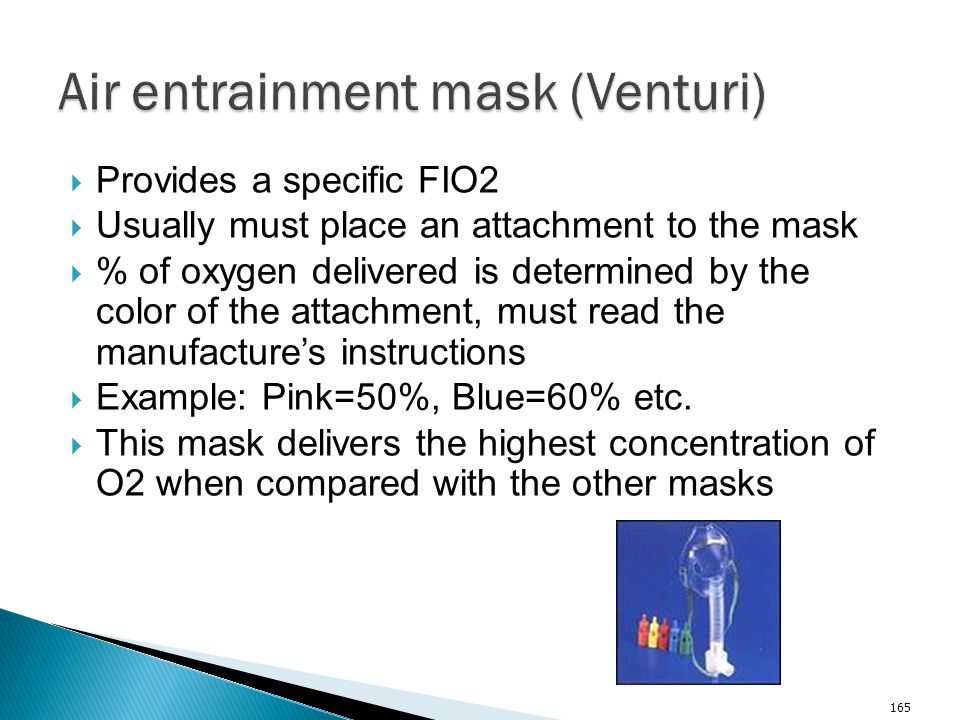 Air entrainment mask (Venturi)