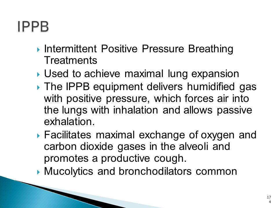 IPPB Intermittent Positive Pressure Breathing Treatments
