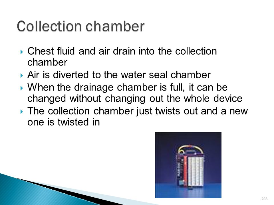 Collection chamber Chest fluid and air drain into the collection chamber. Air is diverted to the water seal chamber.