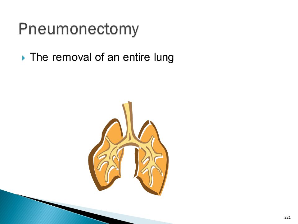 Pneumonectomy The removal of an entire lung