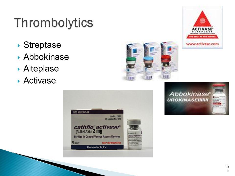 Thrombolytics Streptase Abbokinase Alteplase Activase