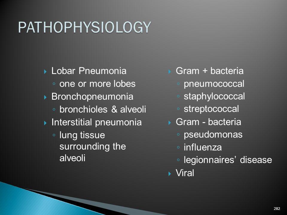 PATHOPHYSIOLOGY Lobar Pneumonia one or more lobes Bronchopneumonia