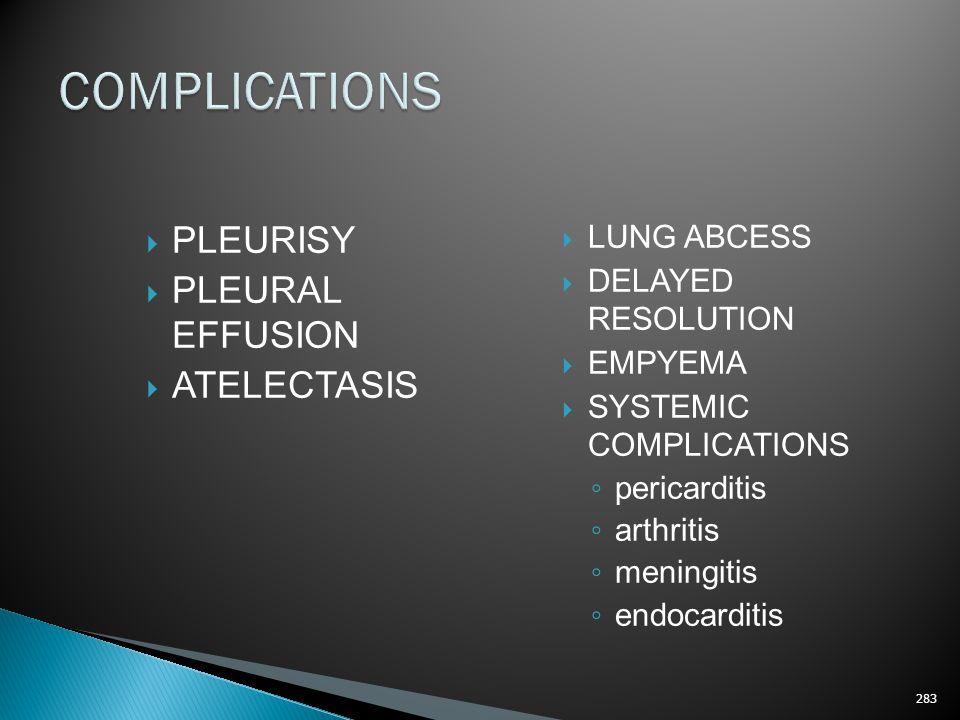 COMPLICATIONS PLEURISY PLEURAL EFFUSION ATELECTASIS LUNG ABCESS