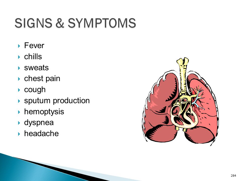 SIGNS & SYMPTOMS Fever chills sweats chest pain cough