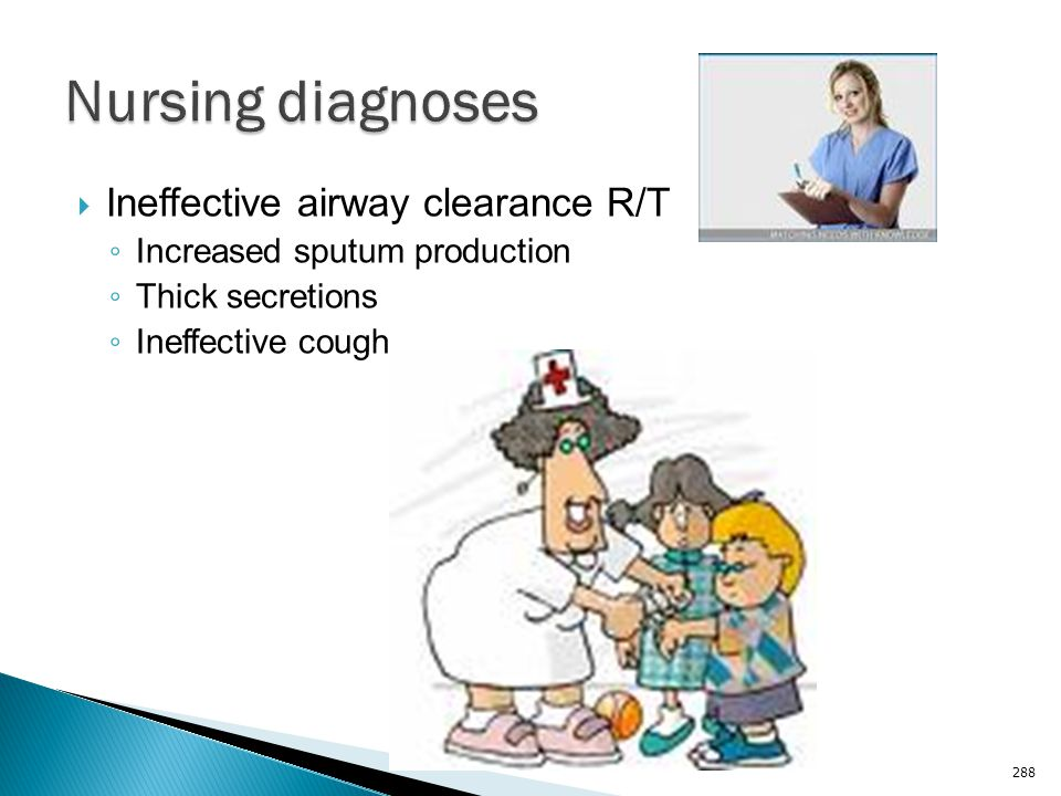 Nursing diagnoses Ineffective airway clearance R/T
