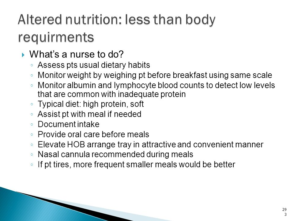 Altered nutrition: less than body requirments