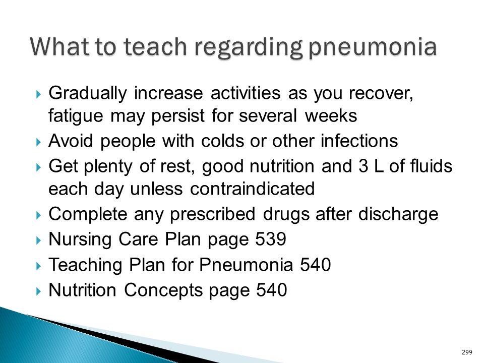 What to teach regarding pneumonia