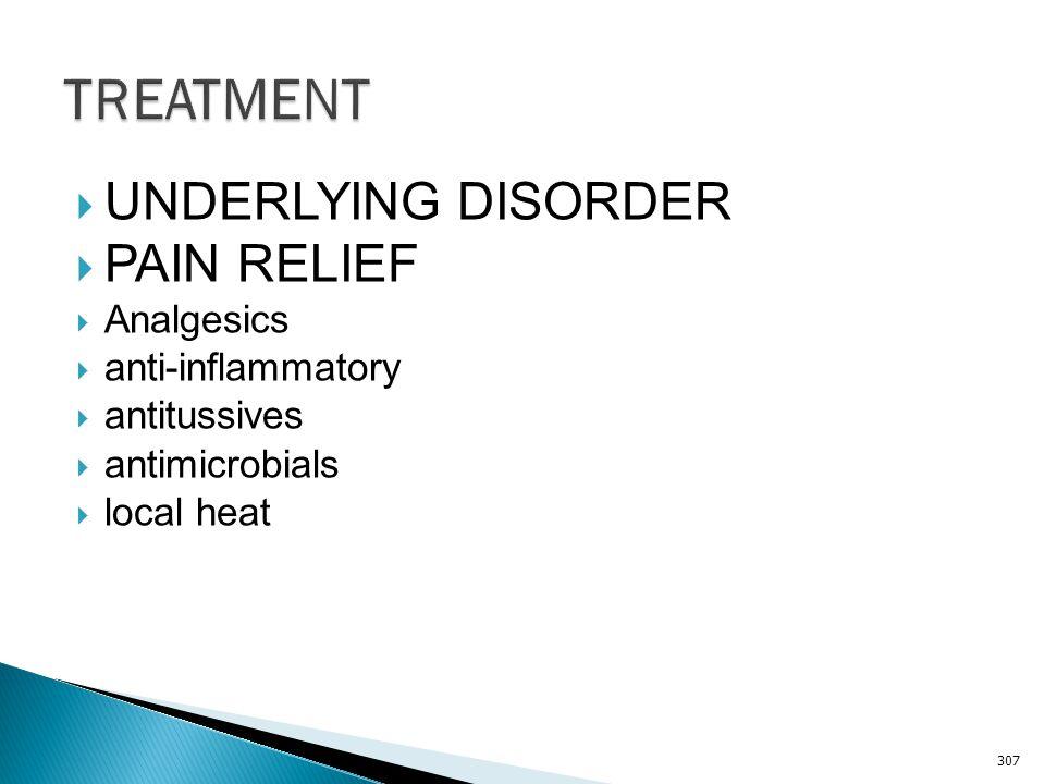 TREATMENT UNDERLYING DISORDER PAIN RELIEF Analgesics anti-inflammatory
