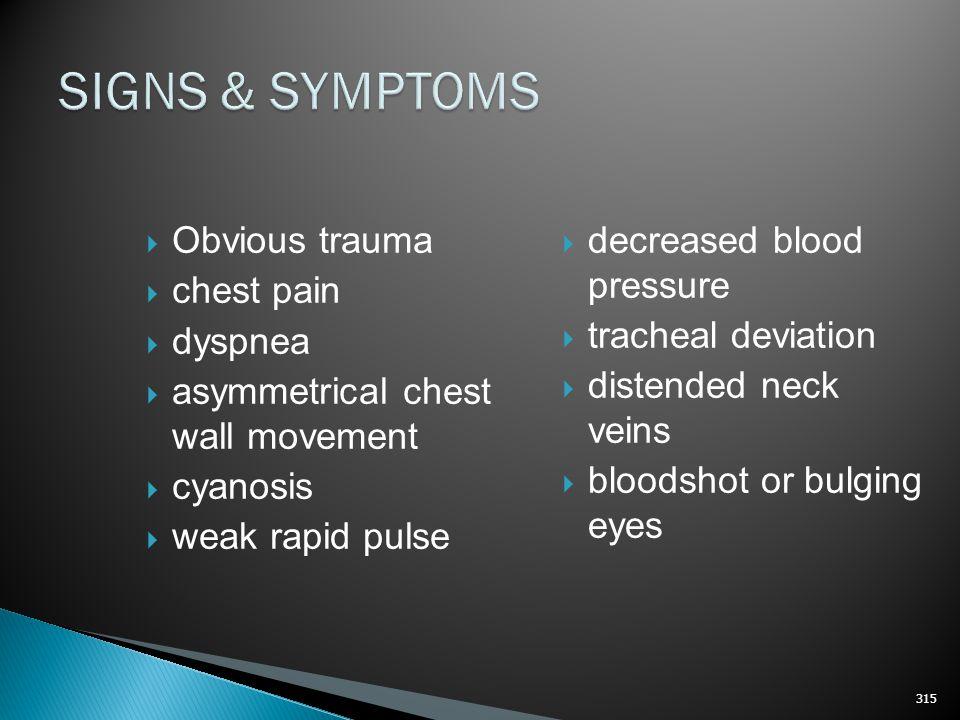 SIGNS & SYMPTOMS Obvious trauma chest pain dyspnea